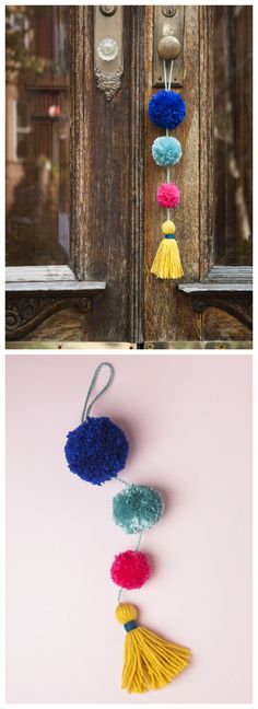 Pom Pom Tassel DoorKnob DecorationI like Pom Pom DIYs because all you need is scrap yarn, cardboard or a fork, and scissors. For more Pom Pom DIYs - from flowers to garlands - go here. Find this quick and easy DIY Pom Pom Tassel Doorknob. Yarn Crafts, Diy And Crafts, Arts And Crafts, Decor Crafts, Kids Crafts, Easy Craft Projects, Yarn Projects, Crochet Projects, Diy Y Manualidades