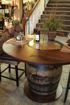 Whiskey Barrel Pub Table Dining Furniture Tables - Amish Furniture - We have over 100 Solid American cherry and Oak Amish furniture items. Our store is located in the heart of Amish Country. Find custom quality furniture at affordable prices. Table Baril, Barris, Barrel Projects, Outdoor Projects, Diy Projects, Wine Barrel Furniture, Deco Table, Dining Table, Pub Tables
