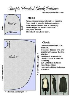 Simple cloak diy pattern
