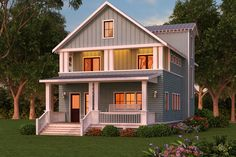Craftsman Style House Plan - 3 Beds 3 Baths Plan #888-12. Two stories with an outdoor sleeping area on the second floor.