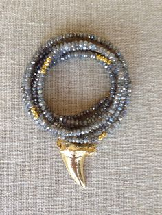 Mystic Labradorite and Gold Sharkstooth by GoldenstrandJewelry, $230.00