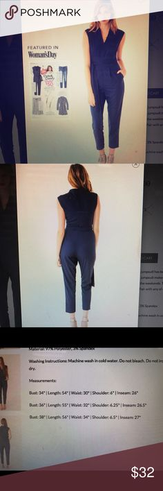 Navy jumpsuit featured in Woman's Day NWT New jumpsuit very classy and flattering, however, I am only 5 ft tall so this does not fit me right. My loss is your gain, featured in Woman's Day cute and comfy under $50. Entourage Pants Jumpsuits & Rompers