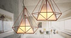 Copper Diamond Wire Cage Pendant Light http://www.tudoandco.com/products/copper-diamond-wire-cage-pendant-light