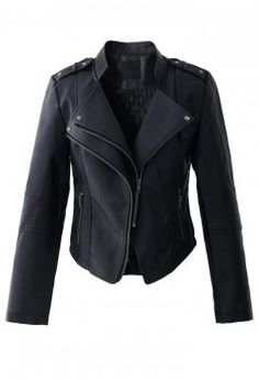 My Chic Style Faux Leather Biker Jacket - Outers - Retro, Indie and Unique Fashion