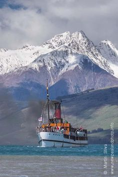 """Tooth Peaks from Lake Wakatipu -Queenstown, South Island, New Zealand. Mid picture is the steamer """"Earnslaw"""" - the Lady of The Lake ~ Nature Photography, Travel Photography, Night Photography, Landscape Photography, Queenstown New Zealand, Lake Wakatipu, New Zealand Landscape, New Zealand South Island, New Zealand Travel"""