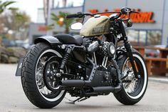 this Harley-Davidson Sportster Forty-Eight is equipped with our latest XL parts like new rear-fender, fueltank-relocation, grand classic filter-kit and many other #Thunderbike custom-parts. #harleydavidsonbobbersfortyeight