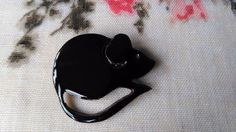 Cute black mouse brooch