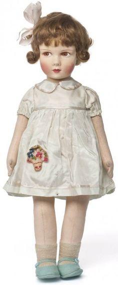 Poupée fillette France, 1935    Raynal (1922-vers 1980), fabricant  Feutre, feutre peint, mohair, coton