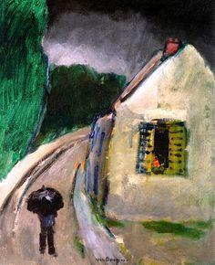 Village Street in the Rain Kees Van Dongen