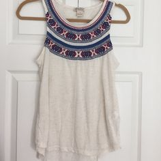 Lucky Brand Embroidered Tank Beautiful oatmeal color tank with embroidered detail Lucky Brand Tops Tank Tops