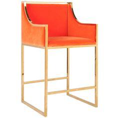 ,Worlds Away Hazel Orange with Brass Counterstool  SKU: 31080  $1,237