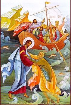 How Not to Sink Like a Stone in the Raging Sea of Life: A Homily for the Sunday After Pentecost in the Orthodox Church Images Of Christ, Religious Images, Religious Icons, Religious Art, Byzantine Icons, Byzantine Art, Religious Paintings, Biblical Art, Catholic Art