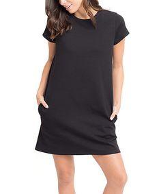 Another great find on #zulily! Black Pocket Crewneck Shift Dress #zulilyfinds