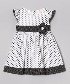 5e26f1163a5 Lele for Kids Black Polka Dot Angel-Sleeve Dress - Toddler   Girls