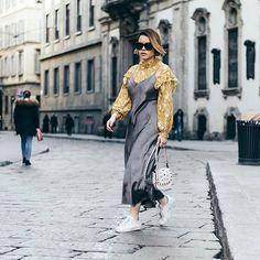 Blouse Under a Slip Dress #Spring #Fashion