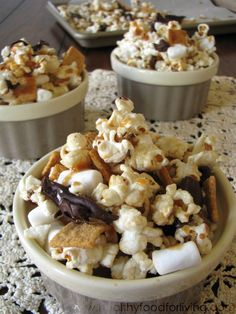Caramel S'mores Kettle Corn - This desserty snack (or snacky dessert) comes together in just a few minutes.