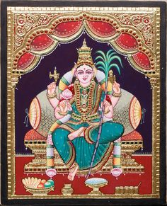 Chola Dynasty, Tanjore Painting, Durga Maa, Outline Drawings, Hindu Temple, Gods And Goddesses, Ganesha, 17th Century, Murals