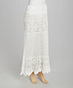 White Crocheted Maxi Skirt