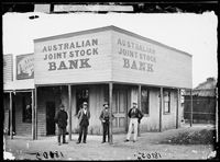 Australian Joint Stock Bank in Gulgong in New South Wales (year unknown). Terra Australis, Banks Building, Model Train Layouts, Beautiful Buildings, Model Trains, Old Photos, Poster Prints, Posters, Australia