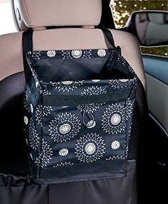 Hanging Car Trash Container and Organizer in Starburst Print with 3 Gallon Leakproof Interior and Quick Release Adjustable Strap: Automotive