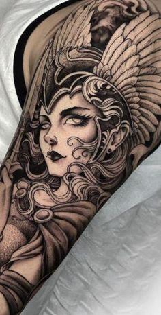 Full Sleeve Tattoo Design, Full Body Tattoo, Full Sleeve Tattoos, Sleeve Tattoos For Women, Dope Tattoos, Black Tattoos, Body Art Tattoos, Viking Tattoo Sleeve, Viking Tattoos