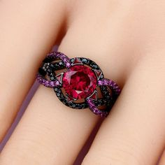 Vancaro - Twist Infinity Women's Black Ring with Lab-created Ruby and Black Cubic Zirconia