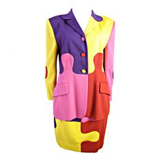 MOSCHINO Puzzle Suit   From a collection of rare vintage suits, outfits and ensembles at http://www.1stdibs.com/fashion/clothing/suits-outfits-ensembles/