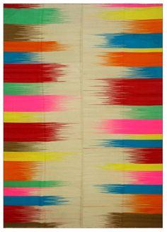 Rug Multicolor Stripe Varigated Old Wool Kilim by bazaarbayar