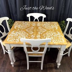 painted, furniture, shabby, table, vintage, stencil, staten island, custom, damask, dining set, NYC
