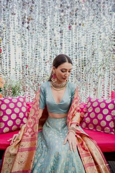 An Elegant Mumbai Wedding With The Most Offbeat Bridal Outfits! Indian Bridal Outfits, Indian Designer Outfits, Indian Wedding Wear, Indian Designers, Designer Dresses, Indian Gowns, Indian Attire, Indian Ethnic Wear, Mehndi Outfit