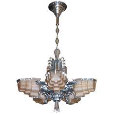 American Art Deco Sculptural Aluminum and Pink Glass Chandelier