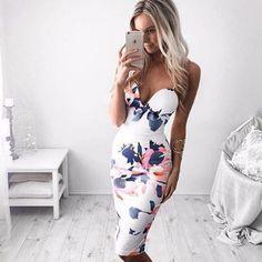Printed sleeveless sexy fashion dress