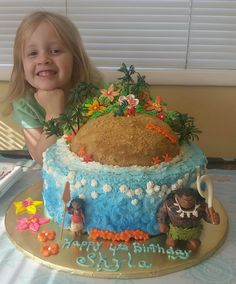 """Feeling fine for her party! Sky got 2 4th birthday cakes this year, Elena and Moana!   """"You're Welcome!"""""""