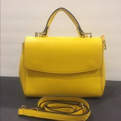 Sunny Yellow Leather Handbag Italian Leather Another goodie just in from Italy. Top handle or detachable leather strap. Magnetic button front and zip closure. Side buttons also for a different look. Fab Bag, Yellow Leather, Satchels, Italian Leather, Sunnies, Leather Handbags, Wallets, Basket, Handle