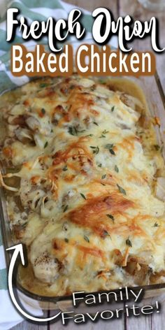 BAKED FRENCH ONION CHICKEN is a quick and easy baked chicken recipe for fellow french onion soup lovers, complete with caramelized onions and a blend of two cheeses.