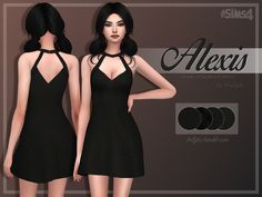 A simple A-Line dress, inspired by Nastygal. It comes in only black colour, but in 4 swatches with different patterns on it. Found in TSR Category 'Sims 4 Female Everyday'
