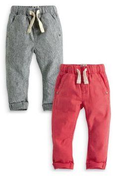 Купить Набор из двух брюк без застежек в полоску и кораллового цвета (3 мес.-6 лет) - Покупайте прямо сейчас на сайте Next: Россия