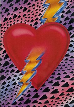 1983 PAPER MOON GRAPHICS 'HEART STRUCK' RED HEART WITH LIGHTNING BOLT THROUGH