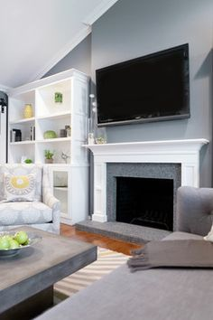 Englewood Cliffs 1607 from Benjamin Moore is a midtone gray Modern living - contemporary - living room - san francisco - Found Design