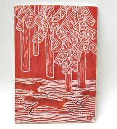 ceramic looking like woodcut