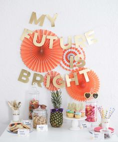 """My Future is so Bright I need to wear shades"" Kindergarten graduation party. This can also be used as a preschool graduation party theme. Easy class party that is inexpensive too"