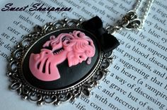 Black and pink Gothic Lolita cameo necklace    www.etsy.com/shop/SweetSharpness