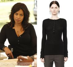 "Shots Fired: Season 1 Episode 9 Ashe's black Button Top | Shop Your TV Ashe Akino (Sanaa Lathan) wears this black long sleeved button front top in this episode of Shots Fired, ""Hour 9: Come to Jesus"". It is the T by Alexander Wang Henley Jumper. Shots Fired, Sanaa Lathan, Black Button, Season 1, Alexander Wang, Topshop, Buttons, Jumper, How To Wear"