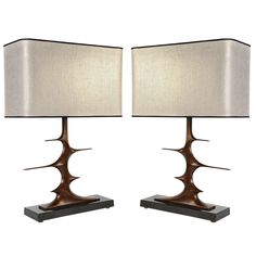 Pair of Bronze Sculptural Lamps by Peter Van Heeck | From a unique collection of antique and modern table lamps at https://www.1stdibs.com/furniture/lighting/table-lamps/
