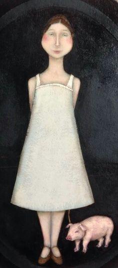 pink - woman with pig - painting - Magalie Bucher Illustrations, Illustration Art, Pig Art, Blue Horse, Animal Paintings, Figurative Art, Painting Inspiration, Female Art, Mark Ryden