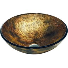 The VIGO Copper Shapes glass vessel bowl is bold and unassuming, featuring bright copper coloring with subtle unconventional shapes and outlines. The solid tempered glass sink is handmade so no two are identical.
