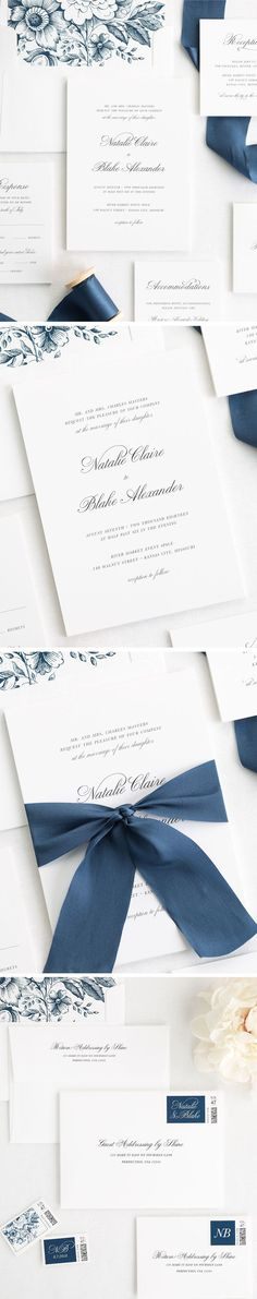 Both classic and elegant, this is a wedding invitation that will stand the test of time! Our Classic Script wedding invitation suite design is printed on white matte card stock with a navy garden rose liner and tied with a custom dyed sapphire silk ribbon