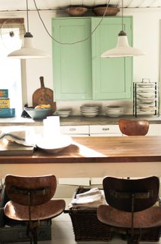 Vintage House: Kitchen Renovation. industrial chairs. love!