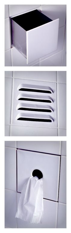 """Arnout Visser, Erik Jan Kwakkel, Peter van der Jagt for Droog — drawer, vent, toilet paper dispenser """"Functional"""" bathroom tiles"""