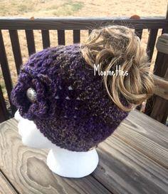 8b996f7d46317 Handmade Messy Bun Hat Fair Isle Nordic Ponytail Beanie Purple Violet Gray  Grey Wood Button Crochet